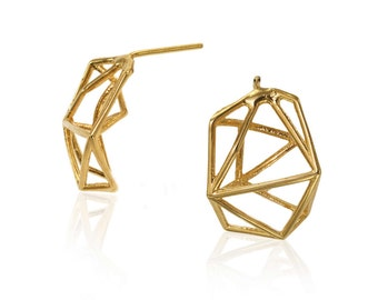 14K Geometric Earrings, Geometric Stud Earrings, Bridal Earrings, 14K Earrings, Unique Earrings, Bridal Earrings, Free Shipping