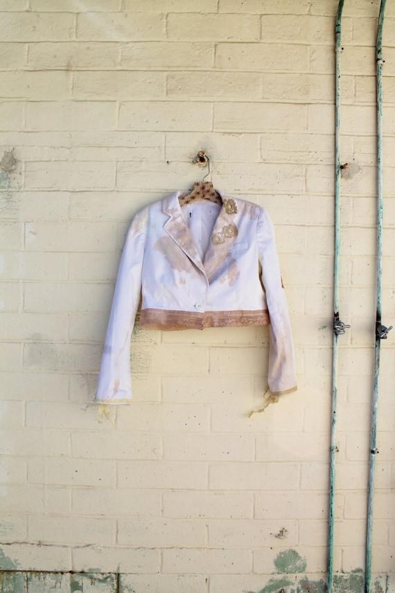 Medium Ecru Cropped Jacket/ Cottage bohemian Jacket//Upcycled Jacket/Vintage Jacket Repurposed/Eco Friendly/ White and cream cropped shrug