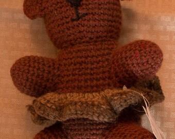 Crochet Shetland Wool Teddy Bear - Girl