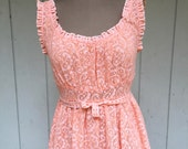 Vintage 60s Peach Soft Knit Lace Night Gown - Mad Men Chemise - Size Large