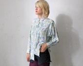 SALE...80s Cacharel shirt. pastel Western shirt. women Western shirt - medium to large