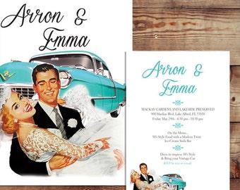 Retro Wedding Invitation Set - Rustic Wedding Suite (Changeable Hair Color)  DIY Farm Chalkboard  /  RSVP Custom Printable Digital Card Set