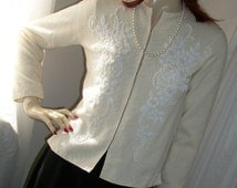Vintage 1950s Cashmere Beaded Sweater Top Size S/M Wedding Lovely Cute!