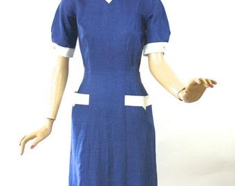 Vintage 50s David Crystal Dress Cornflower Blue Linen Dinner Dress w White Trim Bust 36