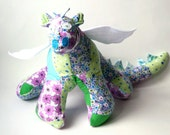 """Stuffed Animal Dragon Toy 10"""" tall, 22"""" wide in green, blue, pink, gray, aqua, purple and white patchwork Flannel Fabric, Baby Friendly Toy"""