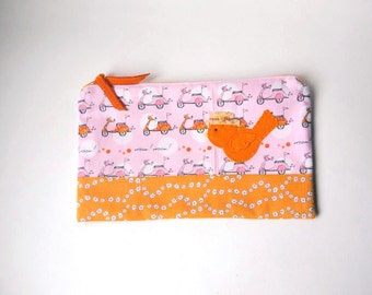 "Zipper Pouch, 9.25 x5.75"" in orange, pink, gray and white vespa scooter fabric, with Handmade Felt bird Embellishment, Bird Pencil Case"