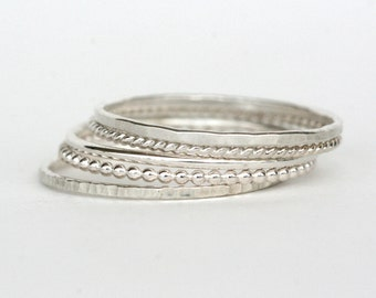 Set of 5 - Skinny Stack Rings - Sterling Silver - Light weight ring - simple band- 5 texture set - 5 different silver rings, twist ring,