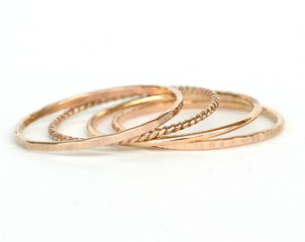 Set of 4 - Skinny Stack Rings - 14kt gold fill - Light weight ring - simple band- 4 texture set - 4 different gold rings, twist ring