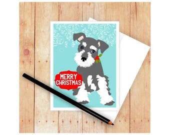 Miniature Schnauzer Christmas Card, Dog Christmas Card Set, Holiday Card Set, Seasons Greetings, Happy Hanukkah Card, Happy Holiday Cards