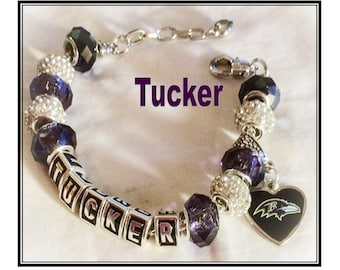 Baltimore Ravens inspired Jewelry Tucker Bracelet handmade