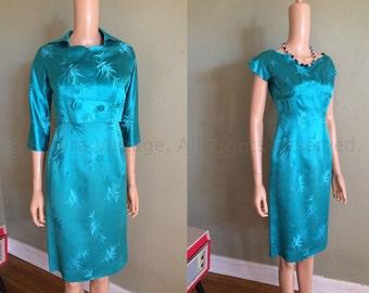 1950s Elegant MITSUKOSHI Tokyo Fashion Room Aqua Blue Two Piece Silk Brocade Fitted Dress and Jacket-XS S