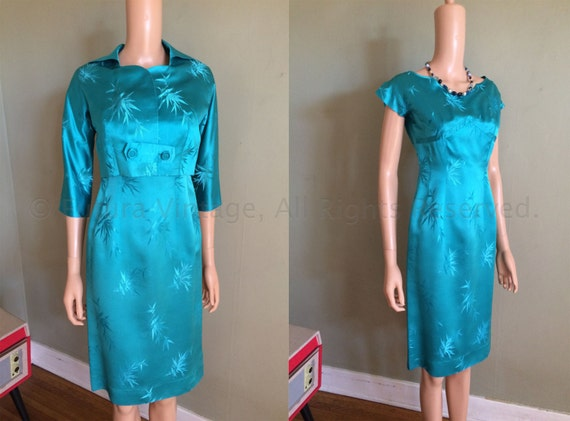 1950s Elegant MITSUKOSHI Tokyo Fashion Room Aqua Blue Two Piece Silk Brocade Fitted Dress and Jacket-XS S