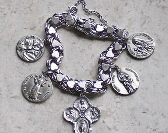 The Greatest Saints of All...Vintage Sterling Silver Hearts Catholic Medal Bracelet