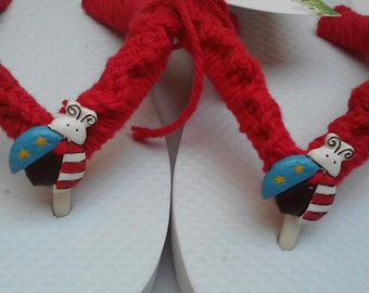 ON SALE NOW....Girls Flip Flops, Size 13/1, Girls Sandals...One Pair left