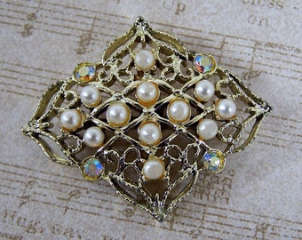 Vintage Gold Pearl and Rhinestone Abstract Pin, Vintage Brooch, Costume Jewelry, Estate Retro Victorian, Gifts Under 10, Under 10 Dollars