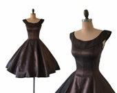Reserved for Tammy Vintage 1950s Bronze Sharkskin Taffeta Full Skirt Cocktail Dress XXS