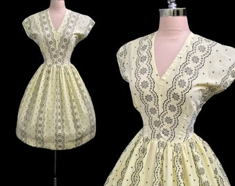 Vintage 1950s Lemon Yellow and Black Eyelet Cotton Full Skirt Party Dress S/M