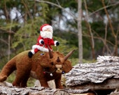 Needle Felted Triceratops Dinosaur and Santa Claus - Needle Felted Triceratops Wool Father Christmas And Animal Soft Sculpture