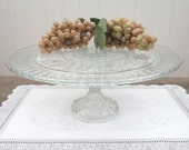"13"" Pedestal Cake Stand made from Vintage Pressed Glass, Perfect for 12"" Wedding Cake, One of a Kind!"