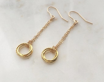 Gold Pendulum earrings - long gold danglys - chain earrings