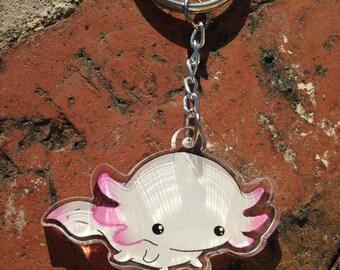 Kawaii Axolotl acrylic keyring, keychain, cute accessory, salamander
