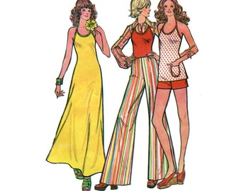 1970s Easy Halter Dress Pattern Top and Elephant Pants or Shorts Fit and Flare Maxi Dress McCalls 3574 Bust 34 Vintage Sewing Pattern