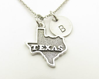 Texas Map Necklace, Texas State Necklace, State Map Necklace, Personalized, Monogram Initial Necklace, Antique Silver Texas Map Y392