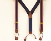 Vintage Mens Blue Suspenders with  Red  and white Stripes - button on