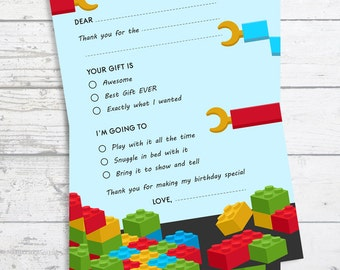 Building Blocks - Fill In The Blank Birthday Party Thank You Card  - Professionally printed *or* DIY printable PDF