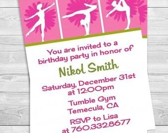 Gymnastics - Birthday Party Invitation Professionally printed *or* DIY printable PDF