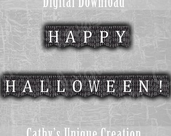 Skeleton Happy Halloween Banner, Black and White, October 31st, Bunting Banner, Day of The Dead, Wall Sign, DIY INSTANT DIGITAL download