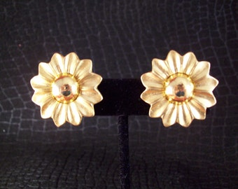 Vintage Golden Sunflower Clip Earrings