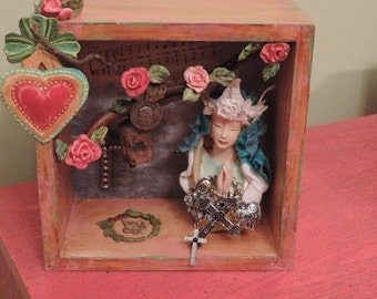 Art Shadow Box, Religious Art, Mixed Media Madonna, Wall or Table Art, Shrine to Prayer, Reliquary,  St Christopher Medal, Lighted  Art