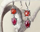 Carnelian and Garnet Claw Two Drop Earring
