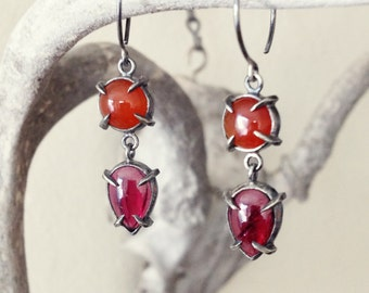 Carnelian and Garnet Claw Two Drop Earring