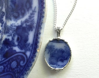 Recycled china pendant necklace Antique 1880s Nonpareil English Flow Blue broken china jewelry