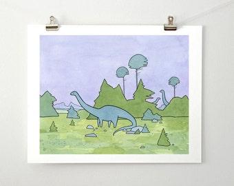 Cute Dinosaur Sauropod Art Print, Diplodocus drawing 11x14