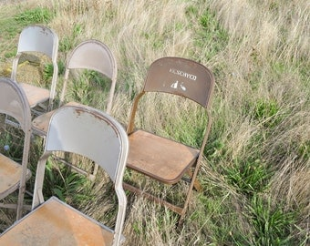 Vintage Industrial Metal Folding Chairs Event Weddings Clarin 1 available