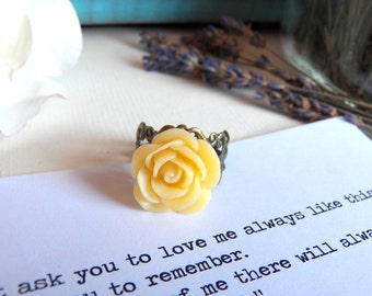 The Promise of Love - Ring - A Vintage Style Brass Flower Ring - Handmade Jewelry by HoneyNest