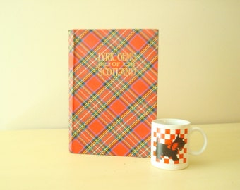 Lyric Gems of Scotland, red tartan covers, Scottish sheet music book, vintage songbook, mid-century reproduction of 1850s original