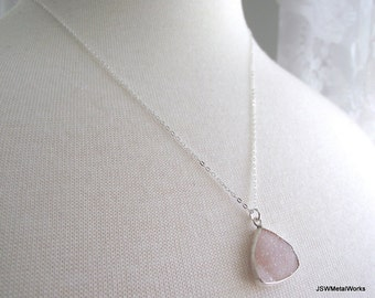 Pink Triangle Teardrop Agate Drusy Necklace, Sterling Silver Necklace, Druzy Jewelry  OOAK, 20 inch silver chain