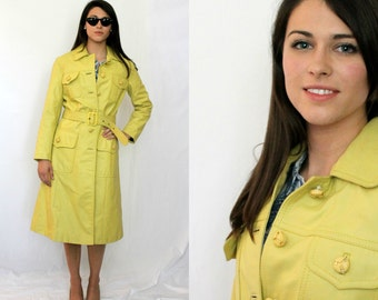 Mod Yellow Leather Trench Coat Argentina - 1960s Vintage - XS S
