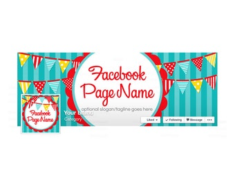 SALE 30% OFF Timeline Cover and Profile Picture - Facebook Timeline Cover Facebook Cover - Colorful Social Media Cover Bold Fun 1-16