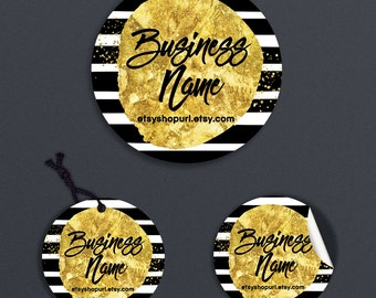 SALE 30% OFF Printable Price Tags - Product Labels - Printable Round Label  or Hang Tag Design - Black, White Gold Label - Geometric 7-16