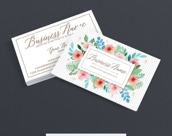 SALE 30% OFF Business Card Designs - 2 Sided Printable Business Card Design - Floral Business Card - Stylish Business Card - Polly