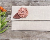 Burlap Linen Clutch, Fall Clutch, Clutch Bag, Burlap Clutch, Clutch Purse, Clutch with Copper Flower Brooch, Wedding Clutch, Envelope Clutch