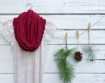 Dark Red Scarf, Infinity Scarf, Cranberry Red Scarf, Circle Scarf, Fall Scarf, Winter Scarf, Jersey Knit Scarf, Gift Idea for Her
