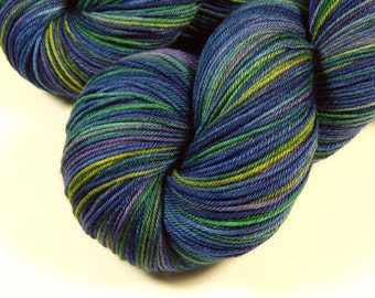 Hand Dyed Sock Yarn - Sock Weight 4 Ply Superwash Merino Wool Yarn - Ink Multi - Knitting Yarn, Sock Yarn, Wool Yarn, Blue Green Purple