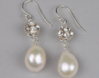 Sterling Silver, Genuine Pearl and Rhinestone Wedding Earrings, Pearl bridal jewelry, Baroque Pearl Dangle Earrings with Rhinestone ball