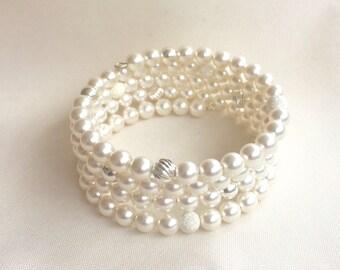 White Swarovksi Crystal pearl bracelet, wedding jewelry, pearl bridal bracelet, multi strand pearl bracelet, casual pearl bracelet, sterling